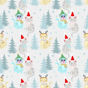Christmas pattern background with cute cat.
