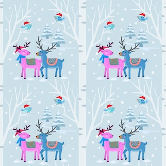 Christmas pattern background with deer in winter.