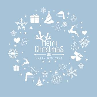 요소 아이콘으로 크리스마스 패턴 배경