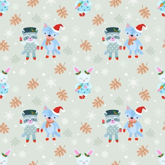 Christmas pattern background with fox, raccoon and rabbit