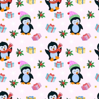 Christmas pattern background with penguin and gift.