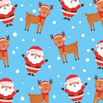 Рождественский узор фона с санта-клаусом и оленями. векторная иллюстрация