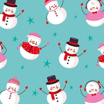 Рождественский узор фона со снеговиком и звездами. векторная иллюстрация
