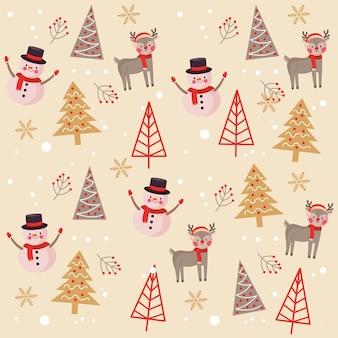 Рождественский узор фона с оленями снеговика и деревья. векторная иллюстрация