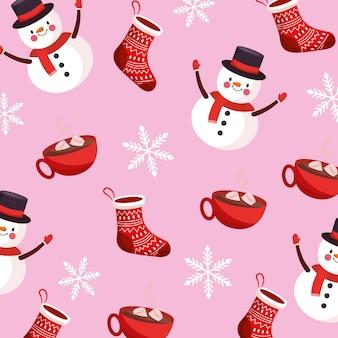 Рождественский узор фона со снеговиком. векторная иллюстрация