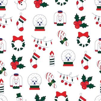 クリスマスパターンキャンドルギフトソックスhollysnowmanクリスマスと新年とのシームレスなパターン