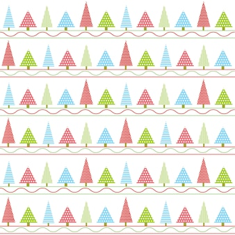 Christmas pattern cartoon of colorful Xmas tree and line style
