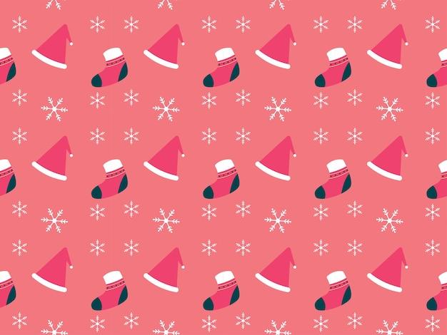 クリスマスパターンクリスマスハットクリスマスソックススノーフレーク