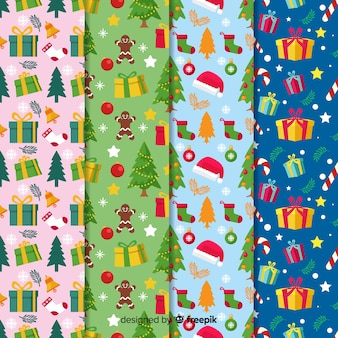 Christmas pattern collection flat design style