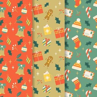 Collezione di motivi natalizi in design piatto