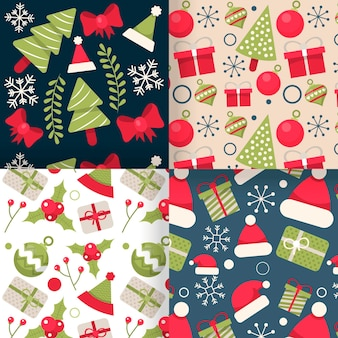 Christmas pattern collection in flat design