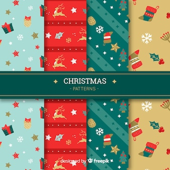 Christmas pattern collection in flat style