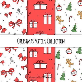 Christmas pattern collection in hand drawn style
