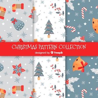 Коллекция рождественских образцов в плоском дизайне