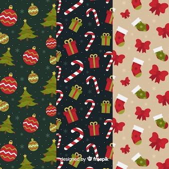 Рождественская коллекция шаблонов в плоском дизайне