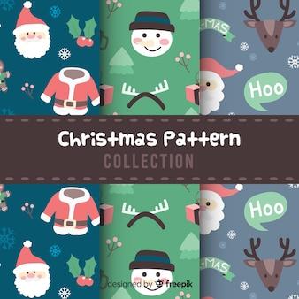 평면 디자인의 크리스마스 패턴 컬렉션