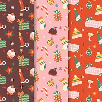 Рождественская коллекция узоров в плоском дизайне