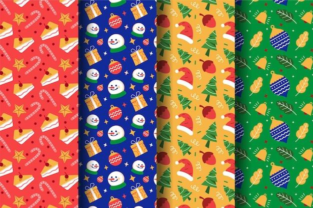 フラットなデザインのクリスマスパターンコレクション