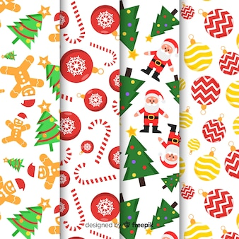 Christmas pattern collection with flat design