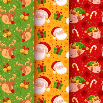 Christmas pattern collection with santa