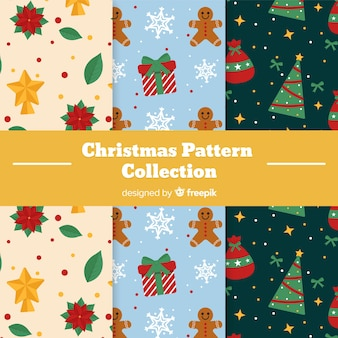 Christmas pattern collection with trees and gifts