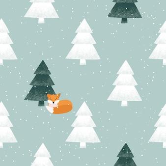 クリスマスのパターン。かわいいキツネ、冬の森、雪。白い背景の上のシームレスなパターン。動物のいる冬の森とテキスタイル、壁紙、ファブリックのクリスマスツリーのデザイン。