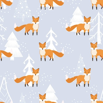 Christmas pattern. cute fox, winter forest, snow. seamless pattern on a white background. winter forest with animals and christmas tree design for textiles, wallpaper, fabric.