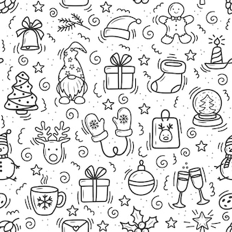 Christmas pattern in doodle style cartoon on a white background