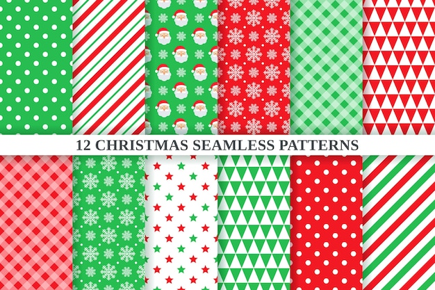 Christmas pattern. geometric texture set