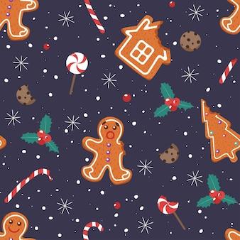 Christmas pattern. gingerbread man