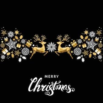 Рождественский образец. золотое украшение. с новым годом фон. золотой рождественский олень и снежинки. векторный шаблон для поздравительной открытки.