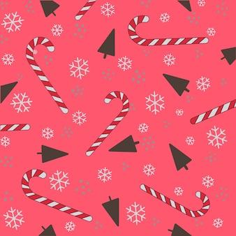 クリスマスパターン手描きカラーシームレスパターンロリポップ雪片トウヒパターンからca