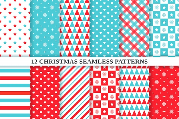 Christmas pattern. . holiday seamless texture. xmas, new year geometric background. set festive textile print with star, snowflake, triangle, polka dot, heart, checkered. red green illustration