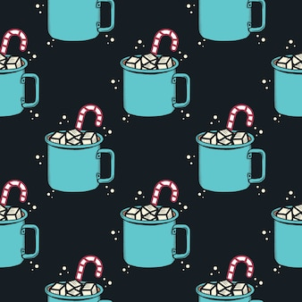 Christmas pattern, holiday seamless with cacao mug. for wrapping paper pattern.