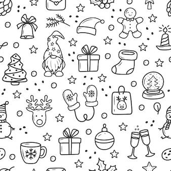 흰색 바탕에 낙서 스타일 만화에서 크리스마스 패턴