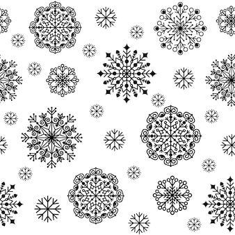 雪片のクリスマスパターン、黒のアウトライン、ベクトル図