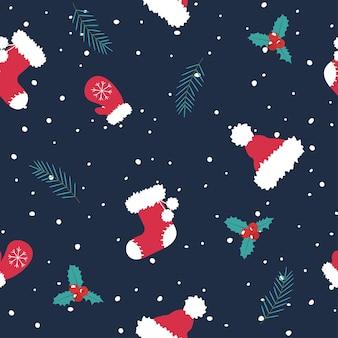 クリスマスのパターン。サンタの帽子、手袋、ブーツ