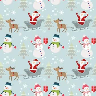 크리스마스 패턴 산타 눈사람 그리고 사슴입니다.