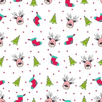 クリスマスパターンのシームレスな背景のデザイン