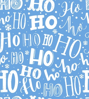 Christmas pattern seamless background with text hohoho gift wrapping blue and white paper