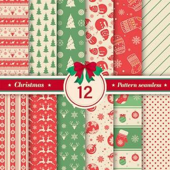Christmas pattern seamless collection in vintage color