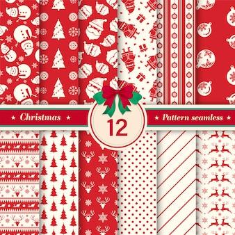 빨간색과 흰색 색상으로 크리스마스 패턴 완벽 한 컬렉션입니다.