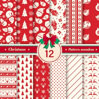 Christmas pattern seamless collection with red and white colors.