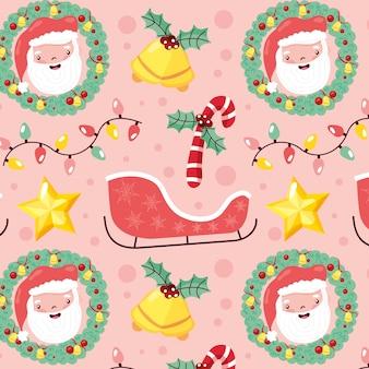 サンタとクリスマスの要素とシームレスなクリスマスパターン