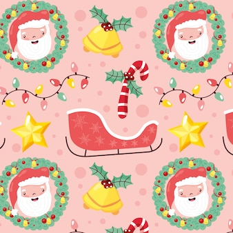 Christmas pattern seamless with santa and christmas elements