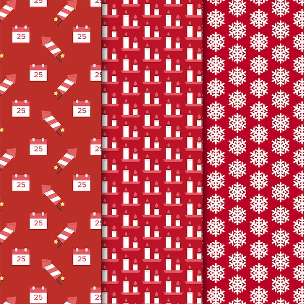 Christmas pattern set on red background