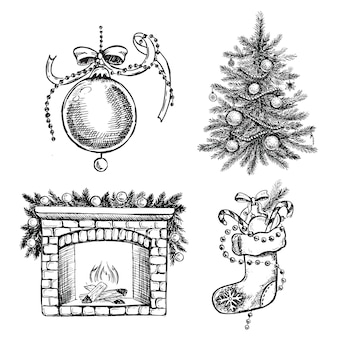 Christmas pattern in sketch style hand drawn illustration