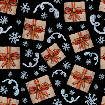 Рождественский узор. акварель носок, корица, мандарин, подарок, конфета и бирка с елкой