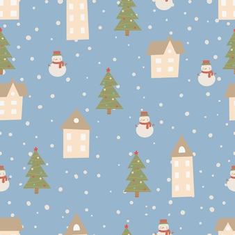 Рождественский узор зимний лес скандинавский рисованной бесшовные модели. новый год, рождество, праздники текстуры с елкой для печати, бумаги, дизайна, ткани, фона. векторная иллюстрация