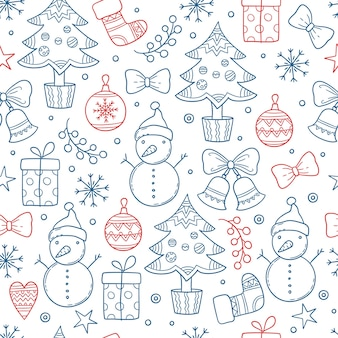 Christmas pattern. winter season graphic snowflakes clothes gifts stars candles trees snowman mittens vector seamless background. seamless repetition xmas, socks and sketchy snowman illustration